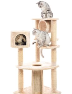 3 happy cats on cat tree