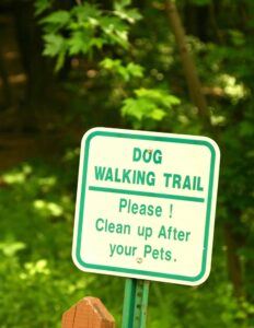 clean up after pets sign on Plymouth trail