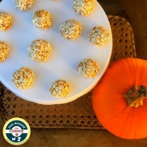 Pumpkin Spice Pet Snacks on a plate with small pumpkin