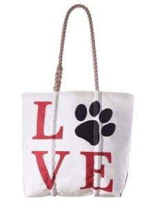 Love paw print tote from Sea Bags located on the Plymouth Waterfront