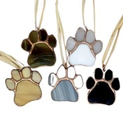 Handmade stained-glass paw print ornaments from Made It! in Plymouth, MA